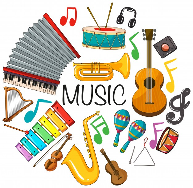 Clipart pictures of musical instruments png freeuse download Different kinds of musical instruments Vector | Free Download png freeuse download