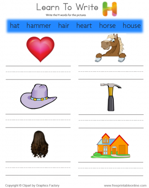 Clipart pictures that begin with h jpg download Learn To Write - Words That Start With H jpg download
