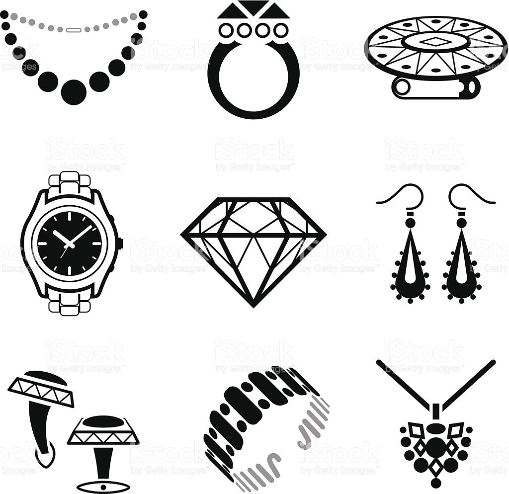 Clipart pile of jewels black and white clipart free stock Jewellery Clipart Group with 69+ items clipart free stock