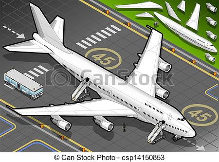 Clipart plane landing vector transparent Clipart Vector of Isometric White Airplane Landed in Front View ... vector transparent