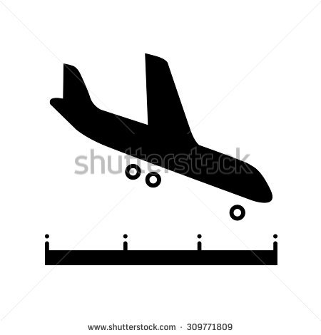Clipart plane landing png black and white Airplane Landing Above Runway Black And White Icon Stock Vector ... png black and white