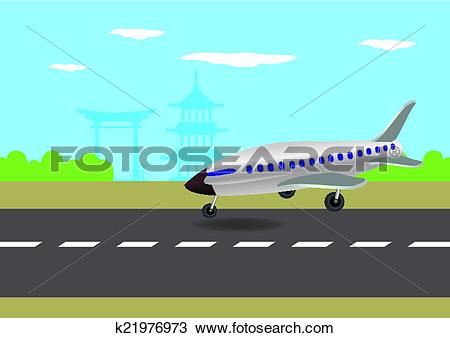 Clipart plane landing clipart black and white download Clipart of Airplane Landing in Japan Vector Illustration k21976973 ... clipart black and white download