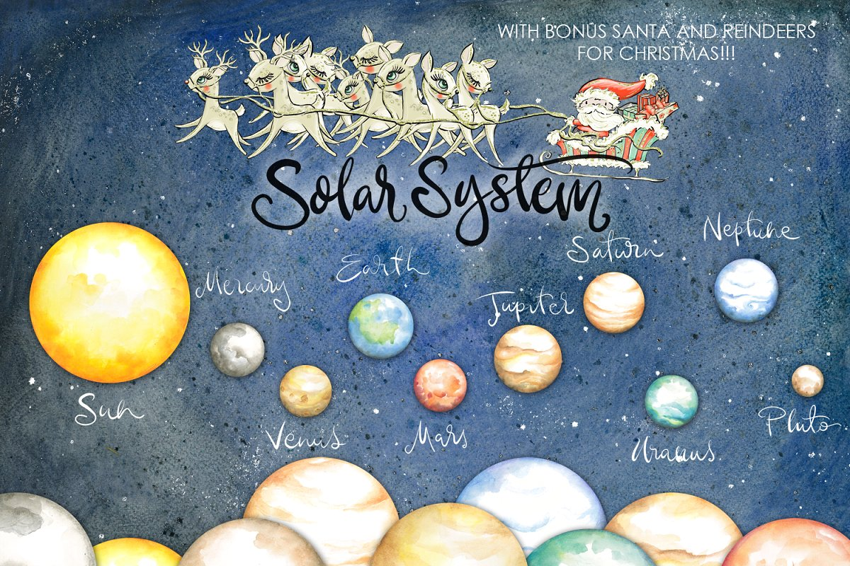 Plnets clipart banner royalty free stock Planets Clipart Watercolor banner royalty free stock