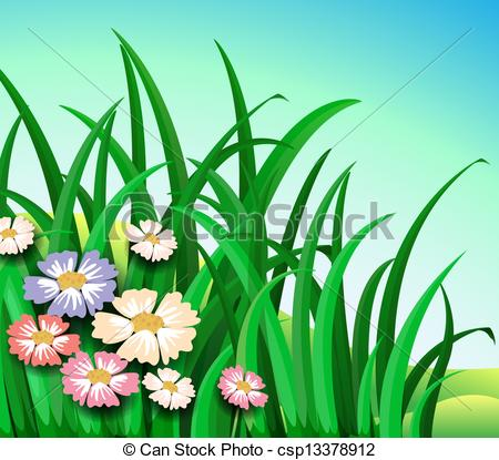 Clipart plants and flowers clip freeuse stock Vector Clip Art of Green plants with colorful flowers ... clip freeuse stock