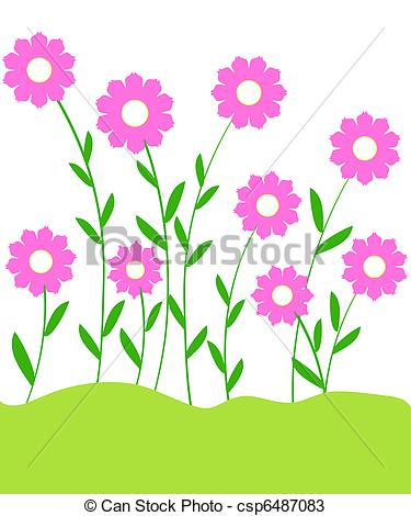 Clipart plants and flowers clip art royalty free library Drawings of Flowering plants - Pink flowers and plants csp6487083 ... clip art royalty free library