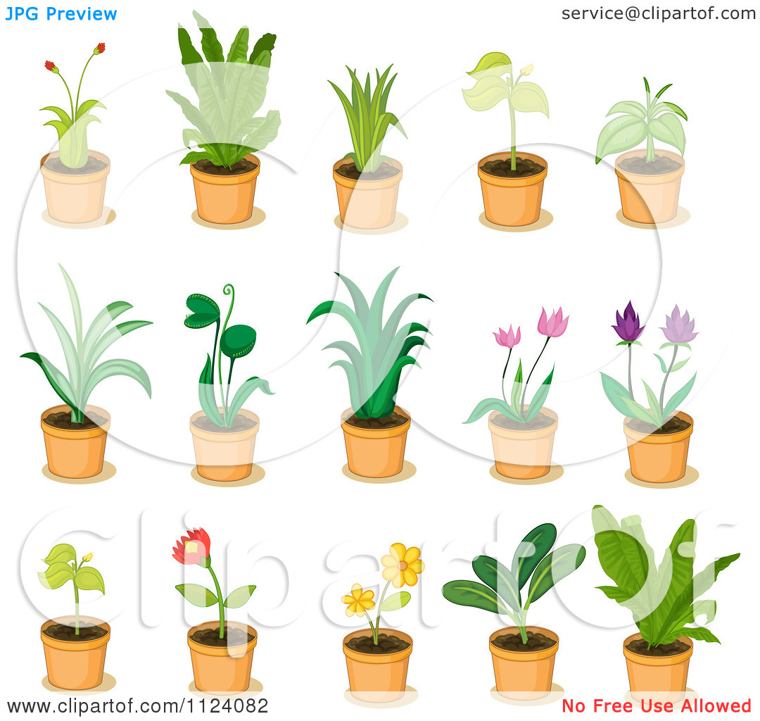 Clipart plants and flowers transparent stock Clipart Of Potted Plants With Flowers 4 - Royalty Free Vector ... transparent stock