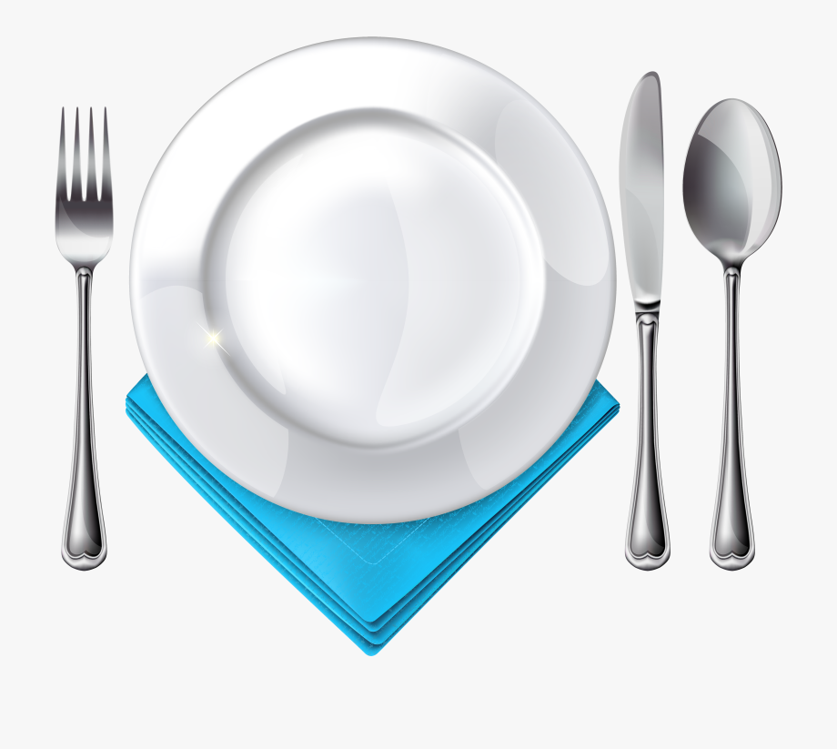 Clipart plate knife fork free Plate Spoon Knife Fork And Blue Napkin Png Clipart - Spoon And Fork ... free