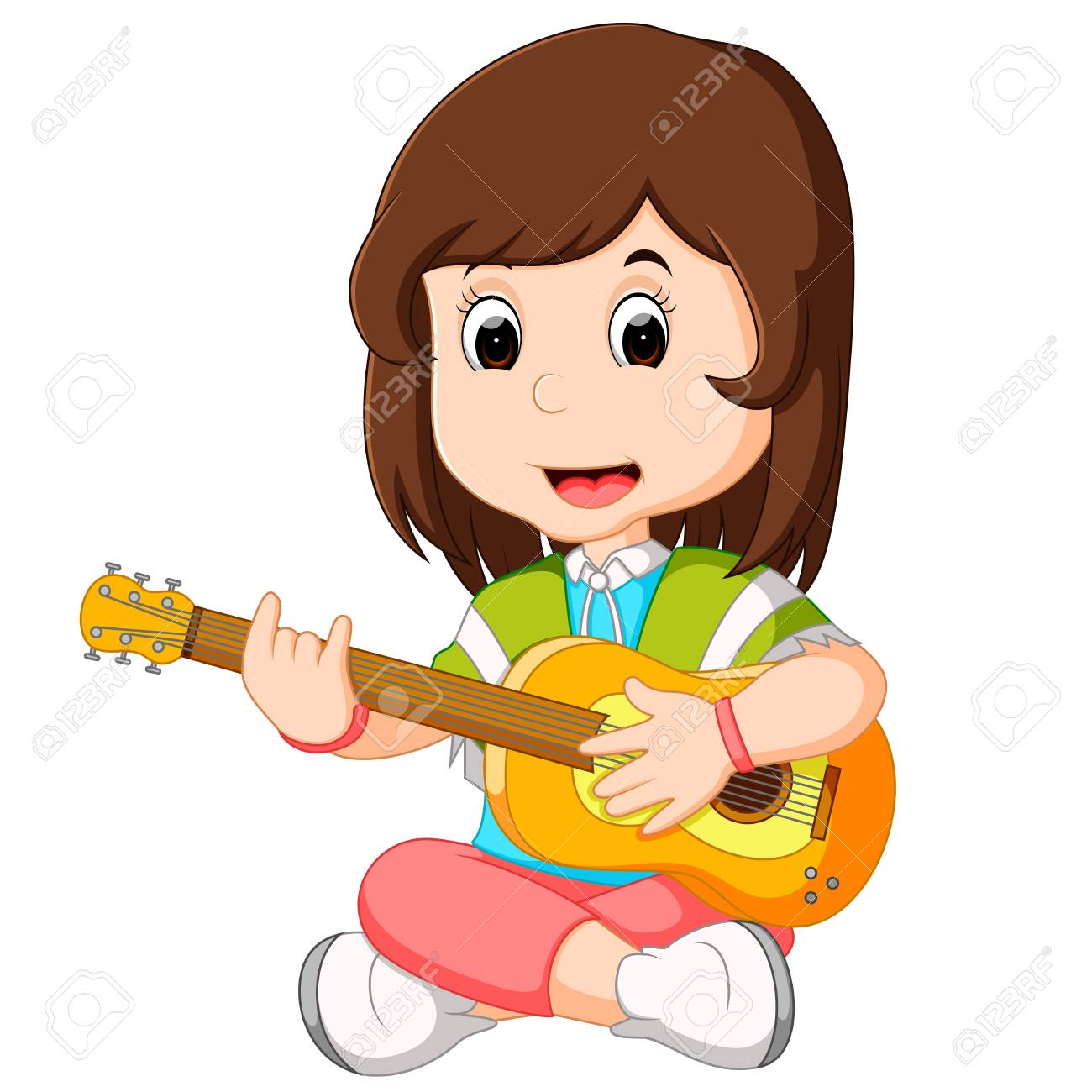 Guitar playing clipart svg black and white Girl playing guitar clipart 4 » Clipart Station svg black and white