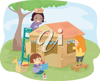 Clipart playhouse vector library stock Illustration of Little Girls Building a Playhouse Made of Carton ... vector library stock