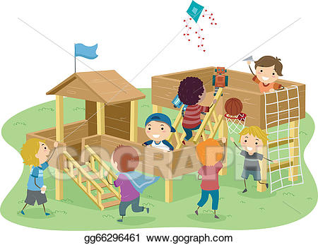 Clipart playhouse image library download EPS Vector - Stickman boys playhouse. Stock Clipart Illustration ... image library download