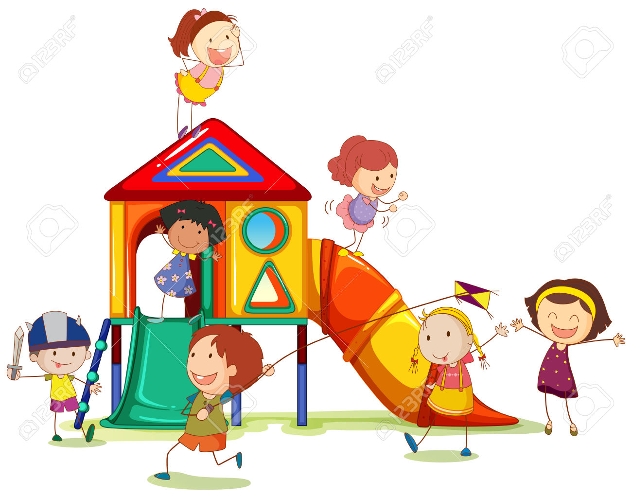 Clipart playhouse graphic free Children playing around the playhouse » Clipart Station graphic free