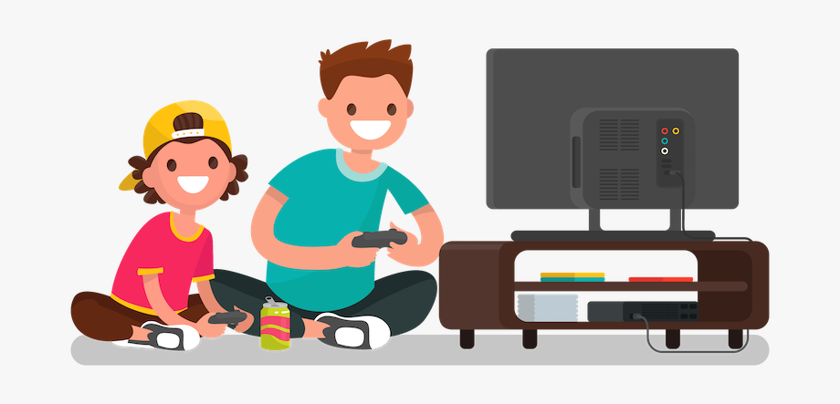 Guy playing video games clipart silhouette