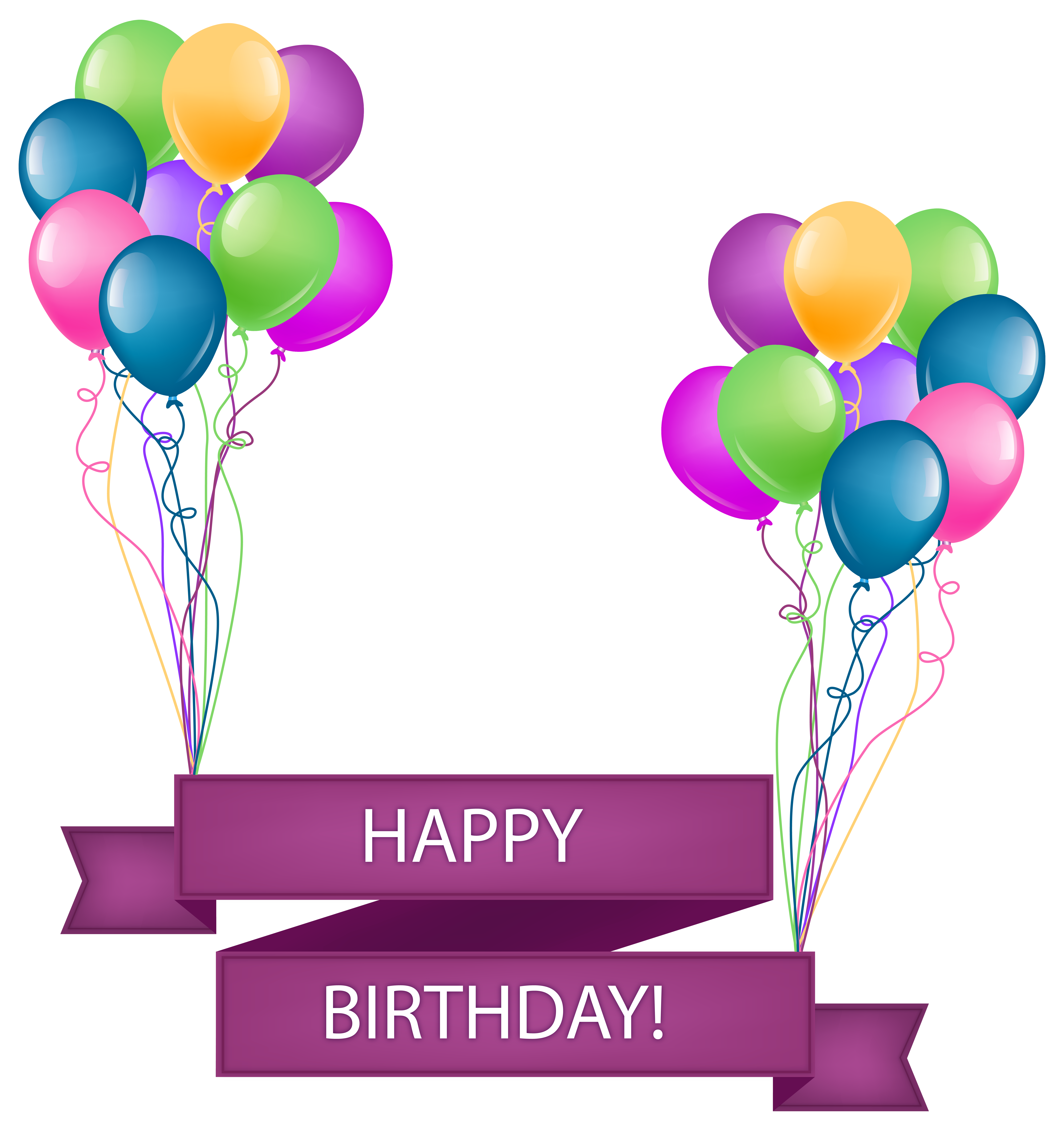Clipart png transparent vector royalty free stock Happy Birthday Banner with Balloons Transparent PNG Clip Art Image vector royalty free stock