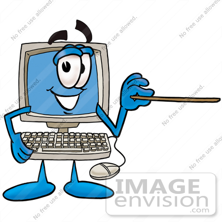 Clipart pointer computer png free library Clip Art Graphic of a Desktop Computer Cartoon Character Holding a ... png free library