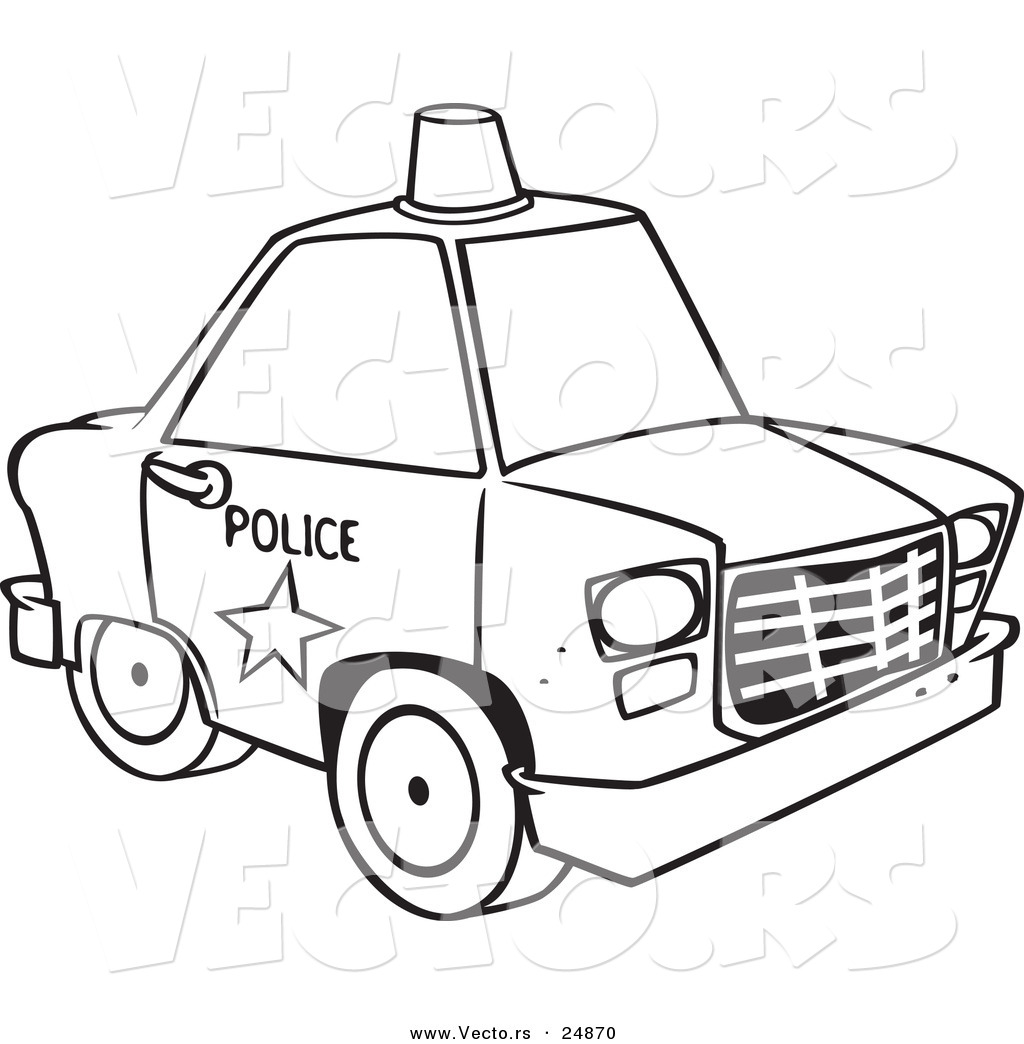 Clipart police car outline png royalty free Vector of a Cartoon Police Car with a Siren Cone on the Roof ... png royalty free