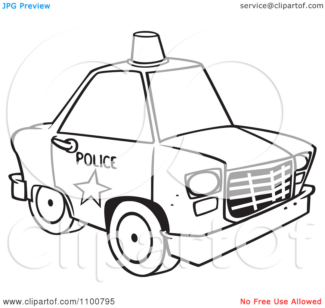 Clipart police car outline free download Clipart Outlined Police Car With A Siren Cone On The Roof ... free download