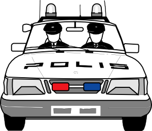 Clipart police car outline clipart black and white stock Police Car Clip Art at Clker.com - vector clip art online, royalty ... clipart black and white stock