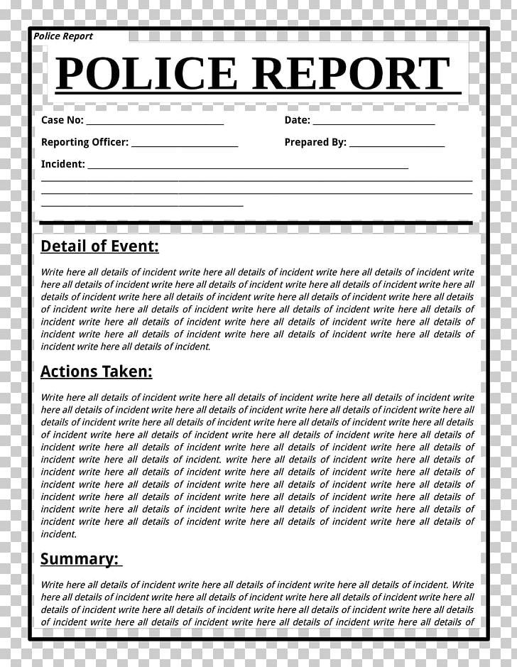 Police report clipart jpg transparent download Template Police Document Report Form PNG, Clipart, Area, Black And ... jpg transparent download