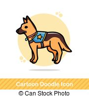 Clipart police dog black and white Stock Illustration of Police dog - A german shepherd dog with a ... black and white