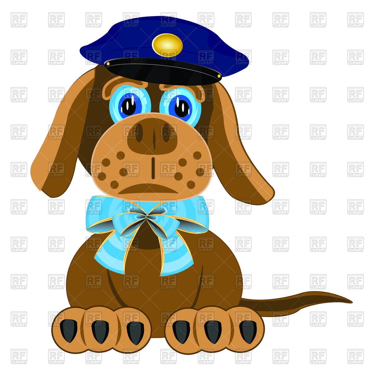 Clipart police dog graphic transparent stock Dog with blue bow on neck and police cap Vector Image #91625 ... graphic transparent stock
