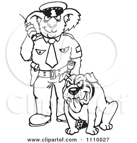Clipart police dog picture freeuse Clipart Black And White Aussie Koala Police Officer With A Dog ... picture freeuse