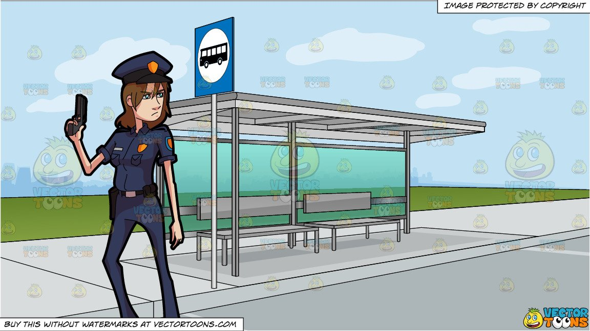 Clipart police stop in name of the law black and white A Female Police Officer Posing With Her Handgun and A Bus Stop At The Side  Of A Street Background black and white