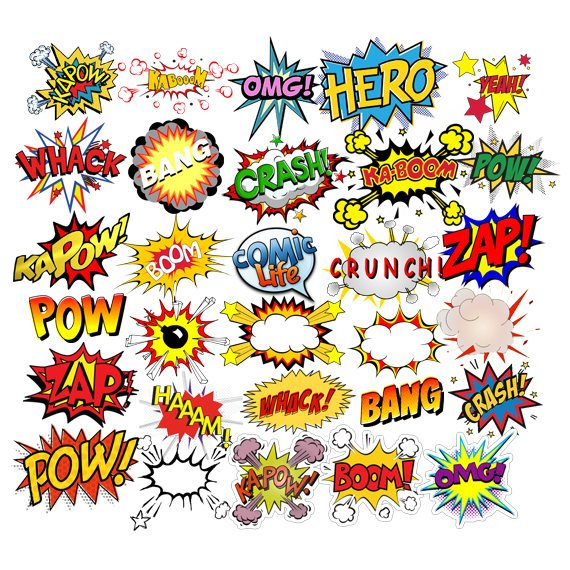 Clipart pop jpg freeuse library INSTANT DOWNLOAD - Superheroes Pop Art Text, Bubbles Clipart, Comic ... jpg freeuse library
