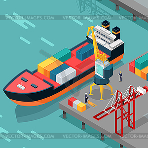 Clipart port banner transparent Cargo Port Concept in Isometric Projection - vector clipart banner transparent