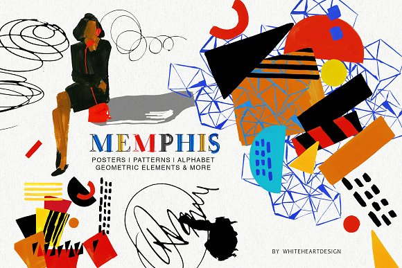 Clipart posters image library stock Memphis Posters Patterns and Clipart image library stock