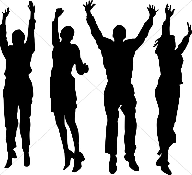 Groups of people arms raised clipart