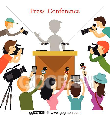 Clipart press conference banner free download EPS Illustration - Press conference, journalist with camera ... banner free download