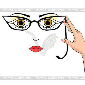 Clipart princenez svg stock Woman holds hand pince-nez glasses - vector EPS clipart svg stock