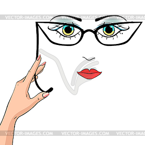 Clipart princenez clip art library library Woman holds hand pince-nez glasses - vector clipart clip art library library