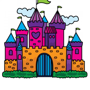 Clipart princess and castle scene for kids vector How to Draw a Princess Castle for Kids Step-by-Step | How to draw ... vector
