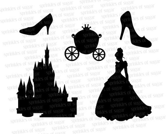Clipart princess and castle scenes on pillowcase banner library stock Cinderella Silhouettes // Cinderella Disney Castle Silhouette ... banner library stock