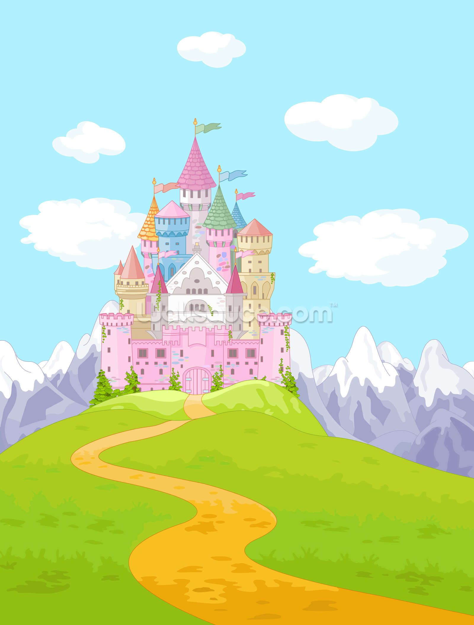 Clipart princess and castle scenes on pillowcase clip black and white library Fairytale Castle Landscape | Art in 2019 | Castle illustration ... clip black and white library