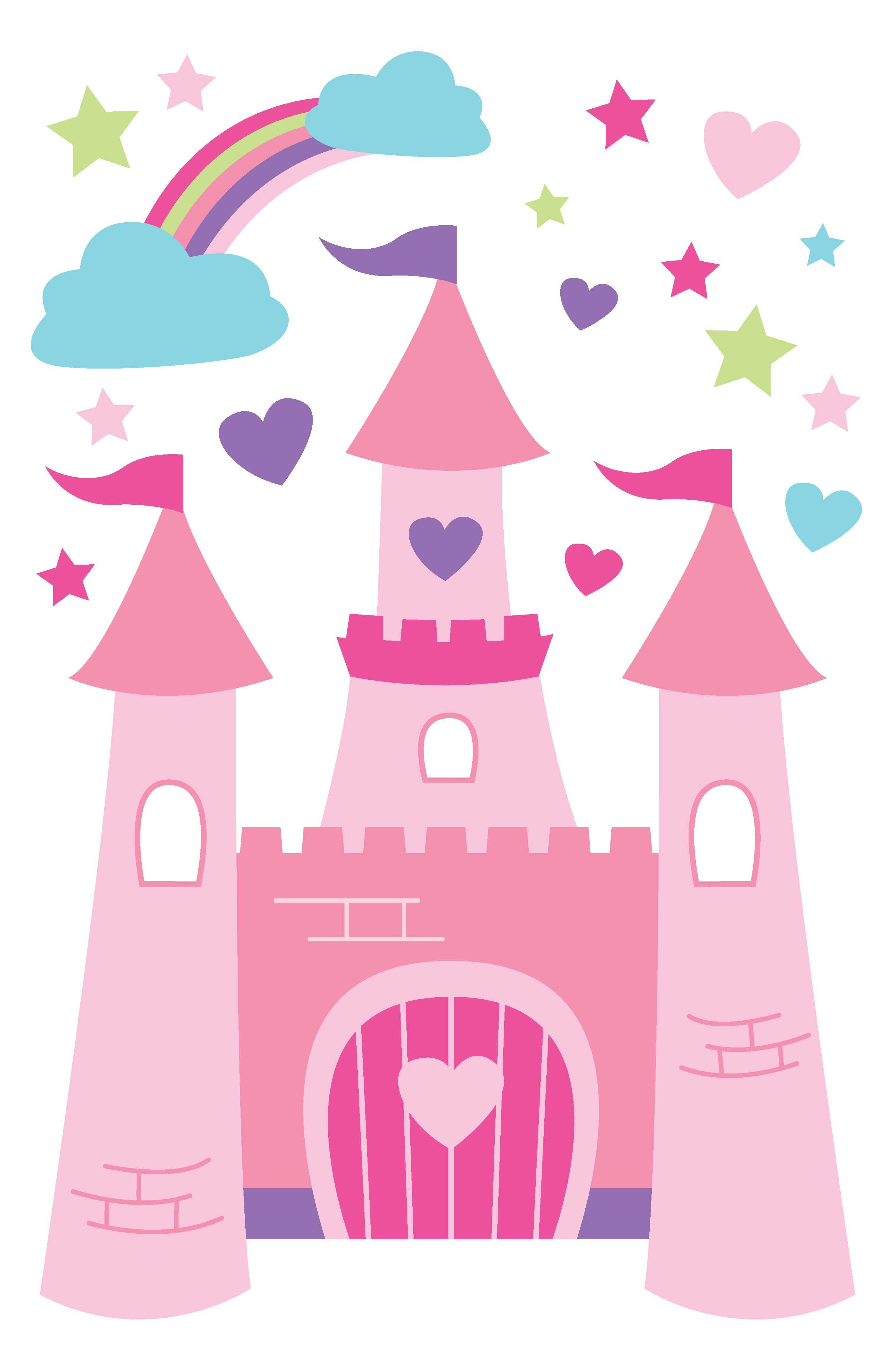 Clipart princess and castle scenes on pillowcase picture library library Pin by Elodie Saphoret on Pour les princesses | Princess castle ... picture library library