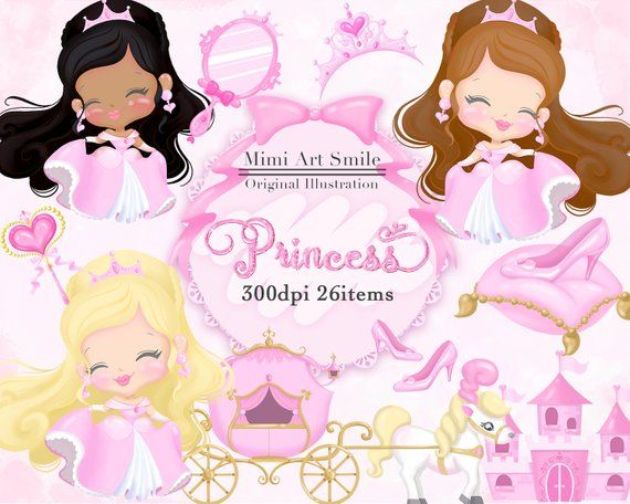 Clipart princess and castle scenes on pillowcase banner Princess Clipart, Pink princess clip art, Pretty girl Cute Dress ... banner