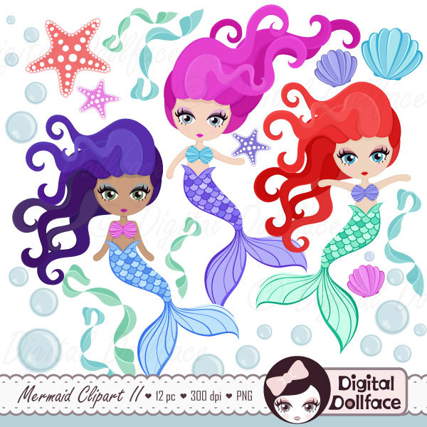 Clipart printables svg transparent library Mermaid clip art | Etsy svg transparent library