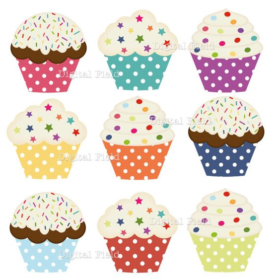Clipart printables clipart free download Polka Dot Cupcake Clip Art Set - colorful printable digital ... clipart free download