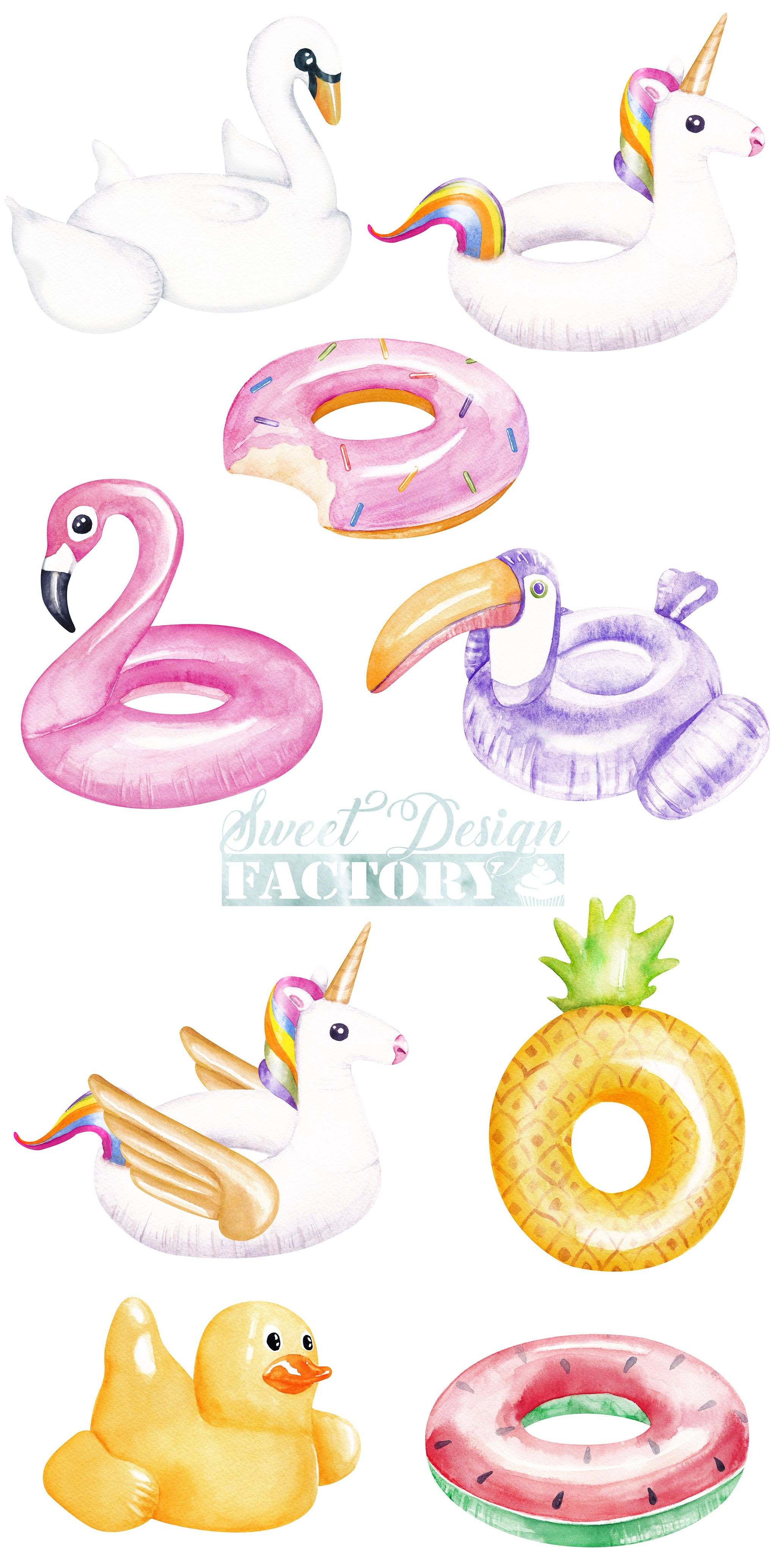 Inflatable summer . Flamingo pool float clipart