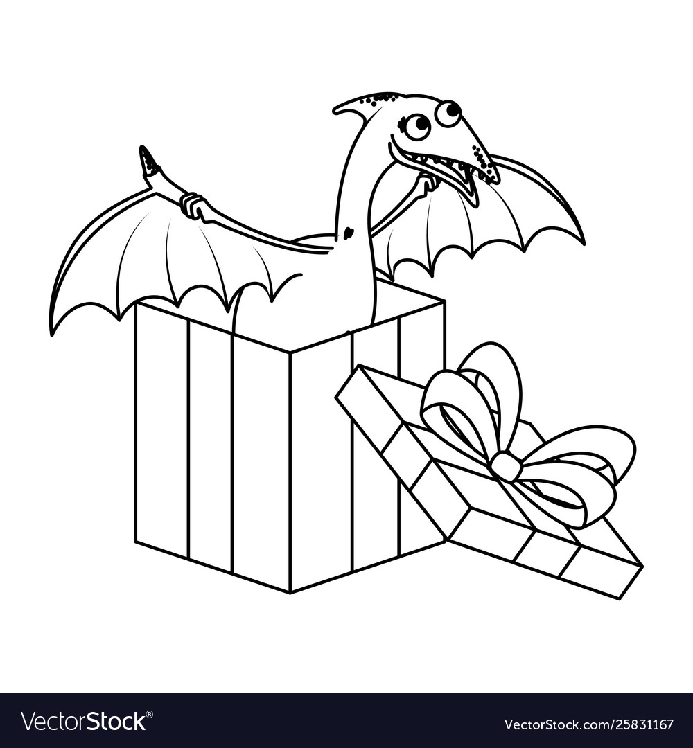 Clipart pterodactyl pile black and white clipart royalty free library Cute pterodactyl in giftbox present vector image clipart royalty free library
