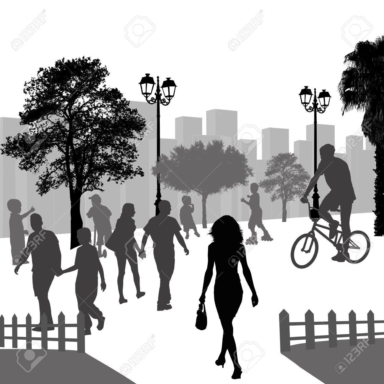 Clipart public park recreation picnic fisherman people silhouette clip freeuse Stock Vector   Park Ideas in 2019   Outdoor recreation, Illustration ... clip freeuse