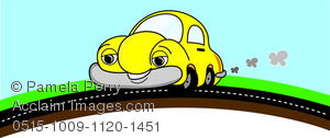 Clipart puff behind car image freeuse stock Clip Art Image of a Cartoon Car Driving on a Road With Smoke Puffs image freeuse stock