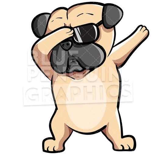 Clipart pugs jpg download Pug Dog Dabbing Vector Cartoon Clipart Illustration jpg download