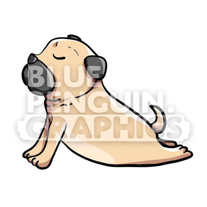 Clipart pugs stock Pug Yoga version 2 Vector Cartoon Clipart Illustration stock