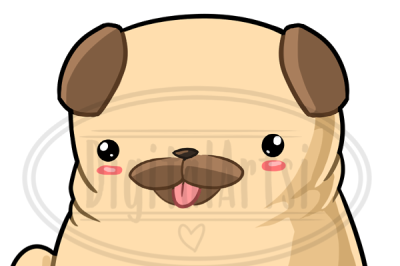 Clipart pugs picture free download Kawaii Pug Clipart By Digitalartsi | TheHungryJPEG.com picture free download
