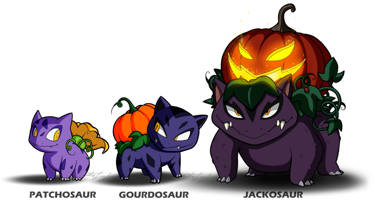Clipart pumpkin pokemon graphic black and white Fan Pokemon - The Pumpkin 'Saurs by MolochTDL on DeviantArt graphic black and white