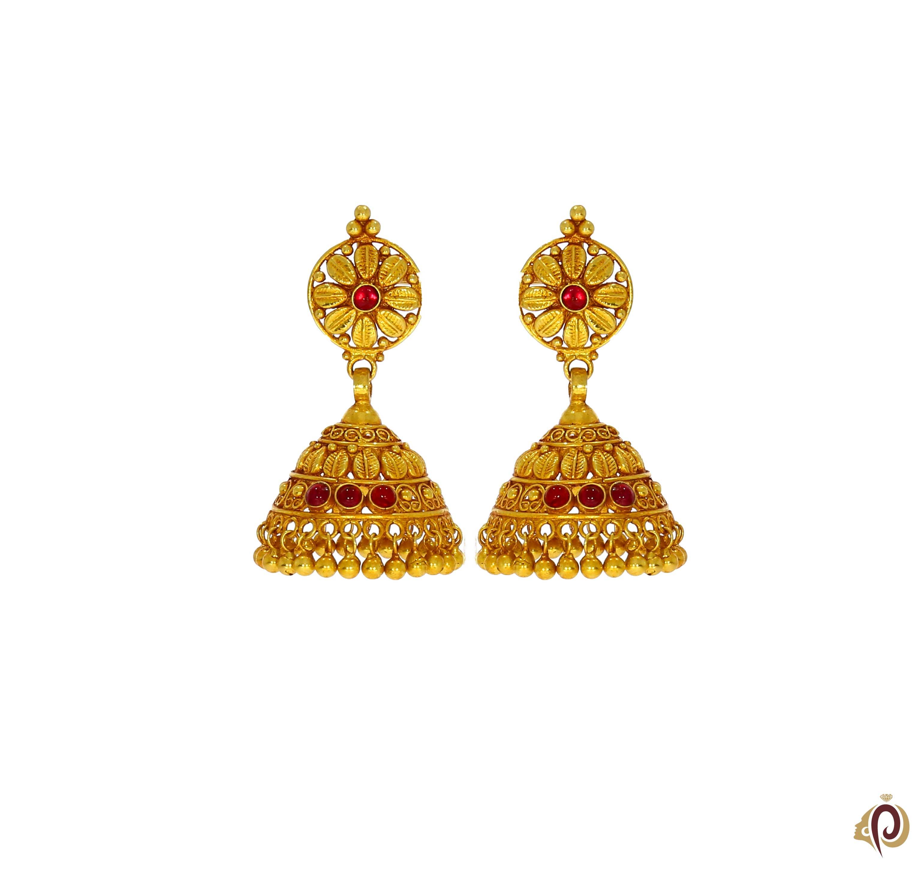 Clipart pune gold earrings clipart library Beautyful Designer Red Stone Golden Zumka Tops clipart library