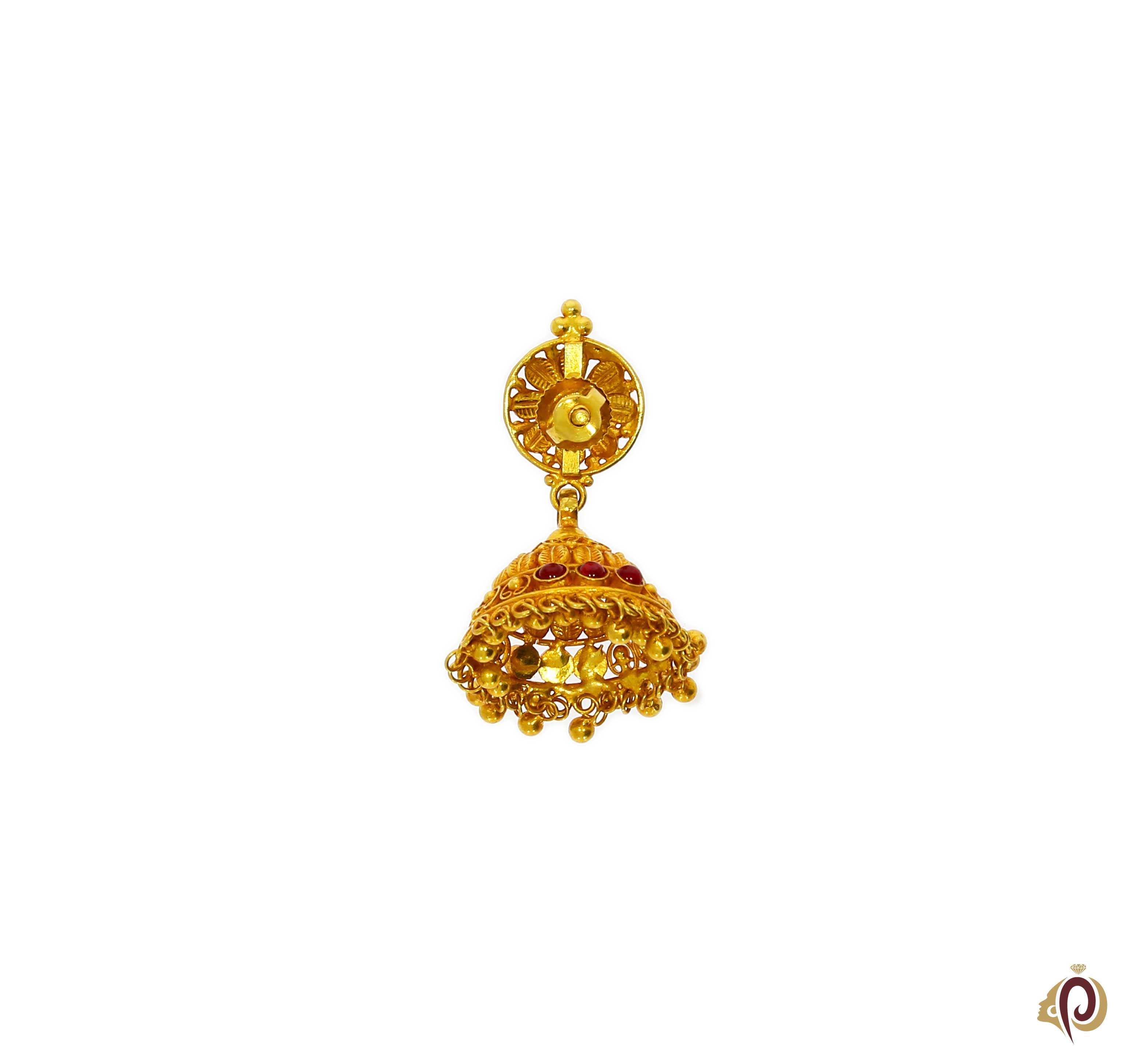 Clipart pune gold earrings vector royalty free download Beautyful Designer Red Stone Golden Zumka Tops vector royalty free download